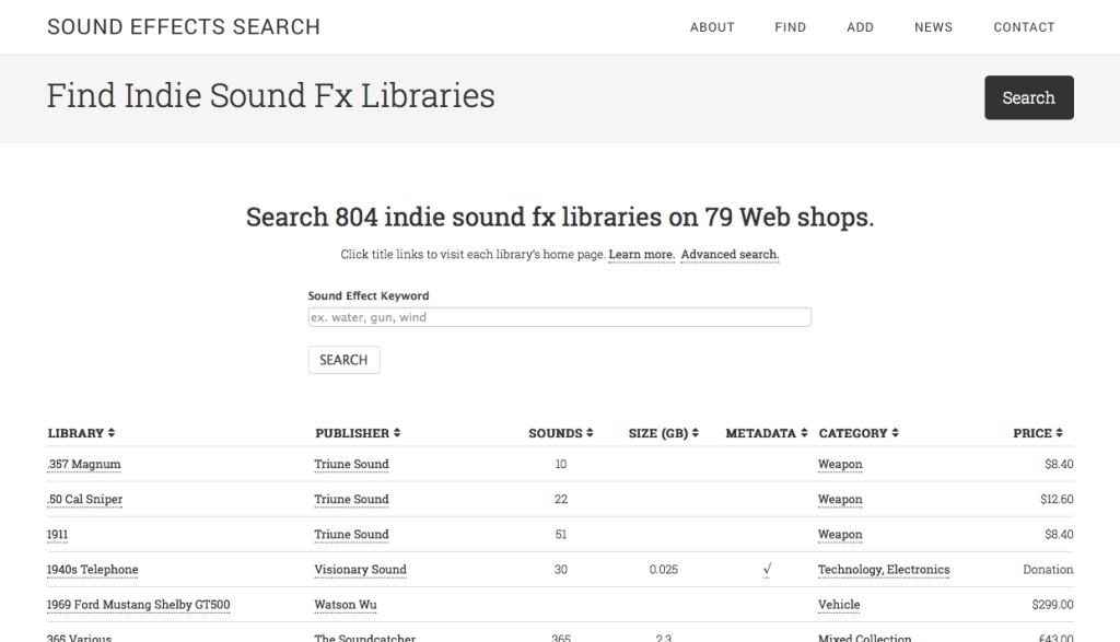 Sound Effects Search splash page